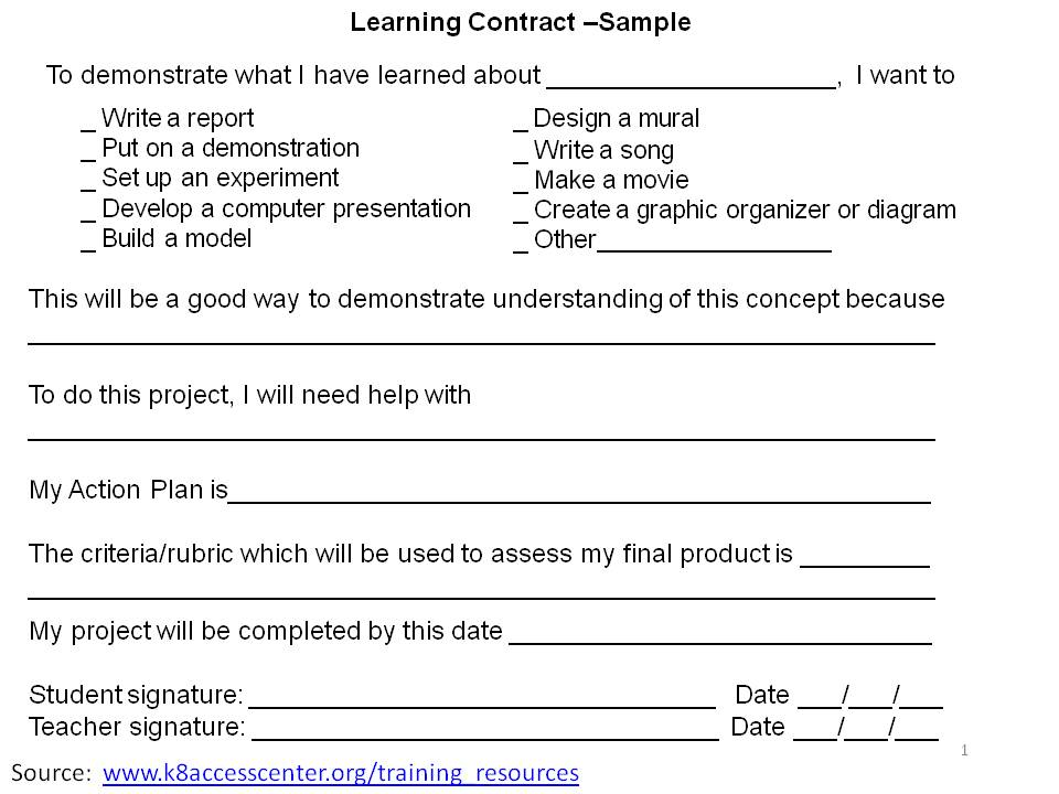 2differentiate Learning Contract – Student Agreement Contract